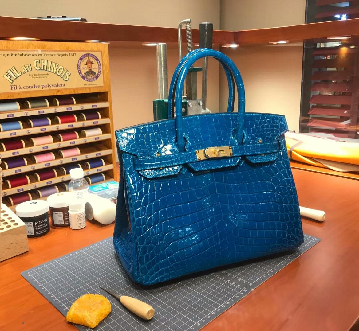 爱马仕 HERMES 铂金包 Birkin 配全套专柜原版包装 全球发售 B3坦桑尼亚蓝新水妖蓝Zanzibar Blue