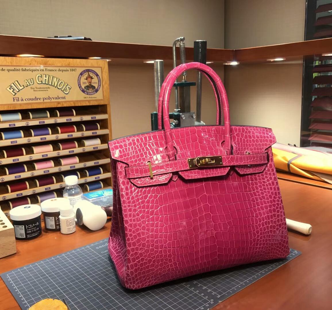 爱马仕 HERMES 铂金包 Birkin 配全套专柜原版包装 全球发售 5J桃粉色桃红色fuschiapink