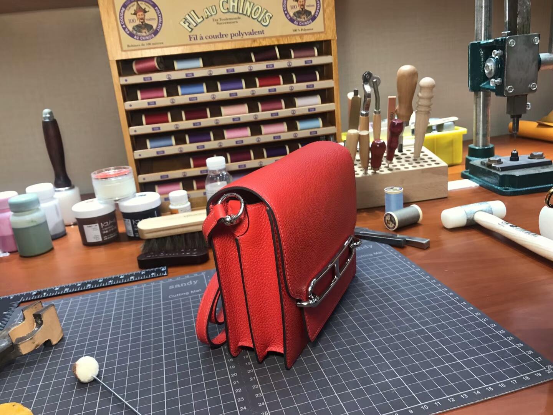 猪鼻子包 Roulis HERMES 爱马仕 s5番茄红rougetomate 配全套专柜原版包装