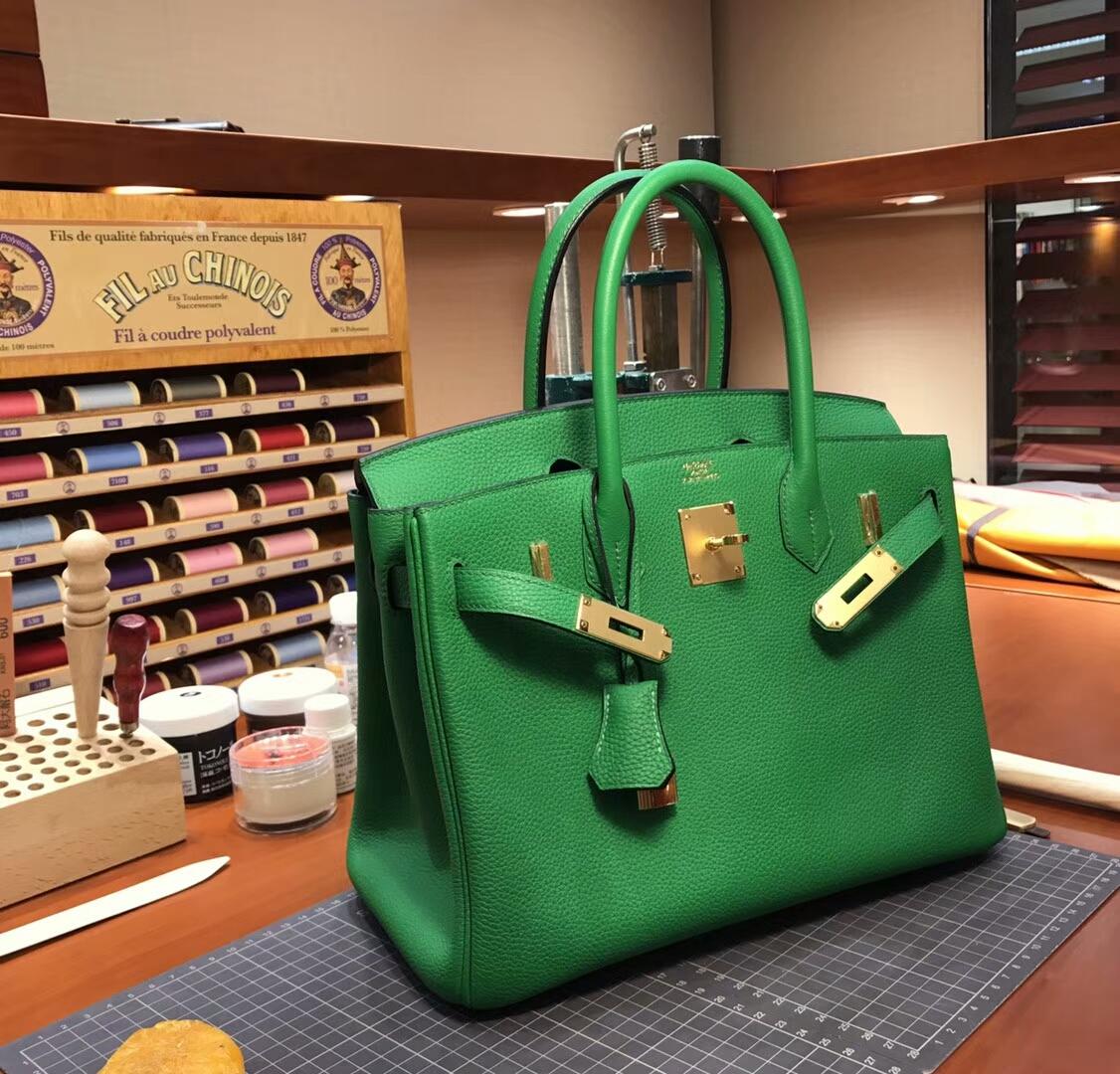 爱马仕 HERMES 铂金包 Birkin 30cm 配全套专柜原版包装 全球发售 竹子绿 1K Bambou