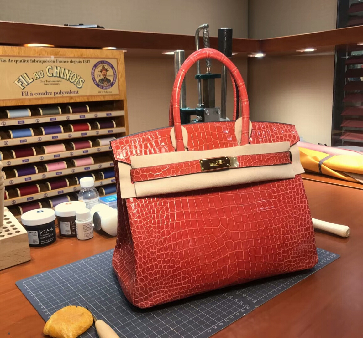 爱马仕 HERMES 铂金包 Birkin 配全套专柜原版包装 全球发售 8VOrangePoppy罂粟橘橘红色