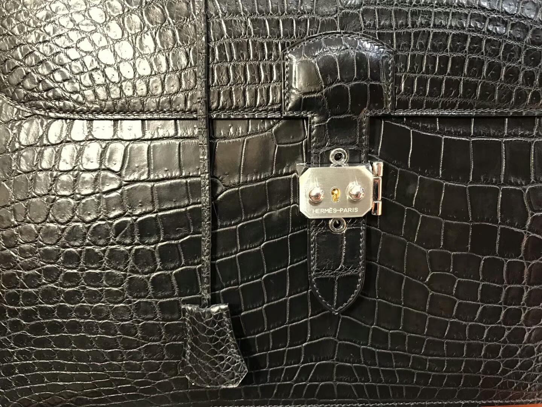 HERMES 爱马仕 男士公文包 亚光 黑色 现货系列 配全套专柜原版包装 银扣
