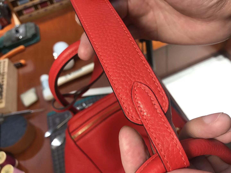 爱马仕 HERMES Lindy 26/30cm s5番茄红rougetomate 银扣 配全套专柜原版包装