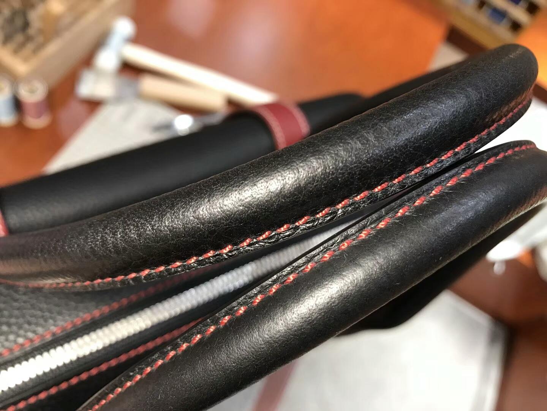 BLACK 黑色 拼 石榴红 K1 Rouge Grenat HERMES 爱马仕 现货系列 配全套专柜原版包装 邮差公文包