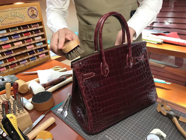 爱马仕 HERMES 铂金包 Birkin 25cm 配全套专柜原版包装 全球发售 鳄鱼 CK57波尔多酒红 Bordeaux