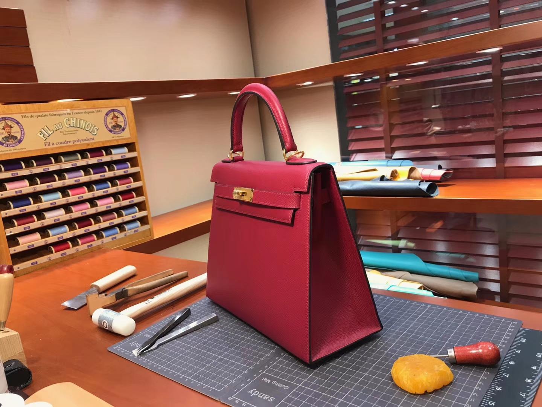 Kelly 28CM 现货系列 配全套专柜原版包装 H红 Rouge H 爱马仕HERMES