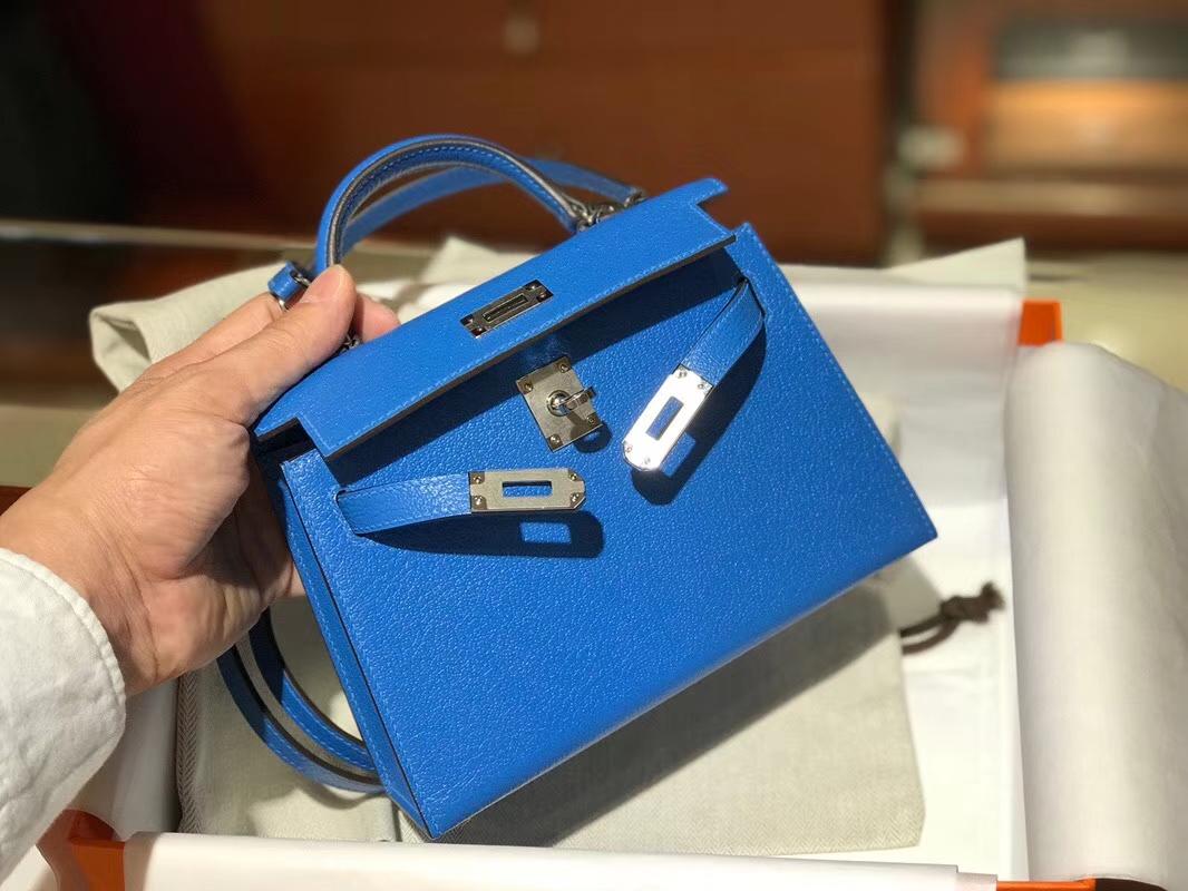 HERMES 爱马仕 Mini Kelly || 20cm 山羊皮 T7 水妖蓝 Bleu Hydra