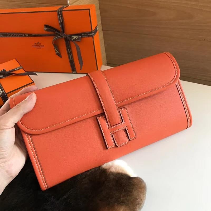 HERMES 爱马仕 手包 配全套专柜原版包装 全球发售 CC93 Orange 橙色 橘色