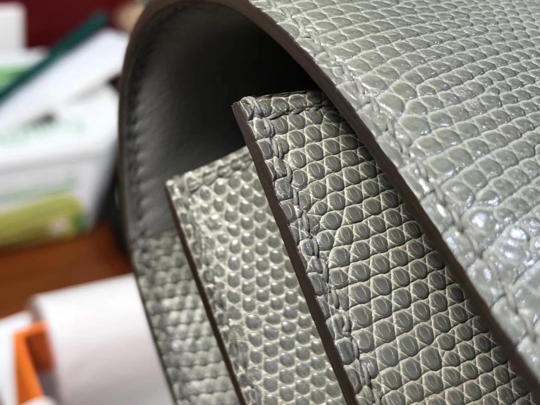 Hermes 爱马仕 空姐包 Constance 蜥蜴皮 8F Etain 银锡灰 锡器灰 定制15-20天发货 配全套专柜原版包装