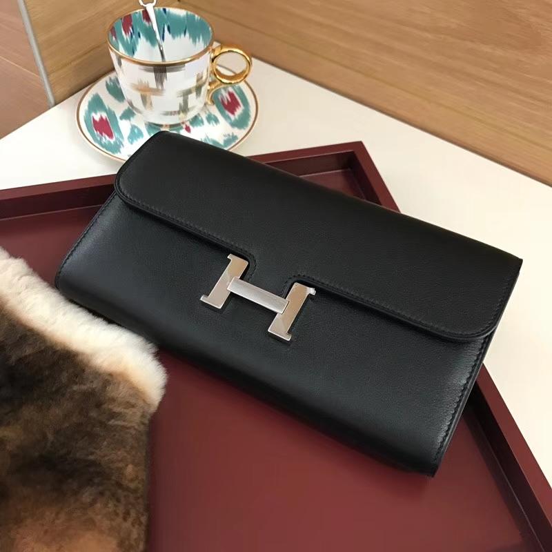 ConstanceSwift HERMES 爱马仕长款H扣钱包 89黑色 Noir