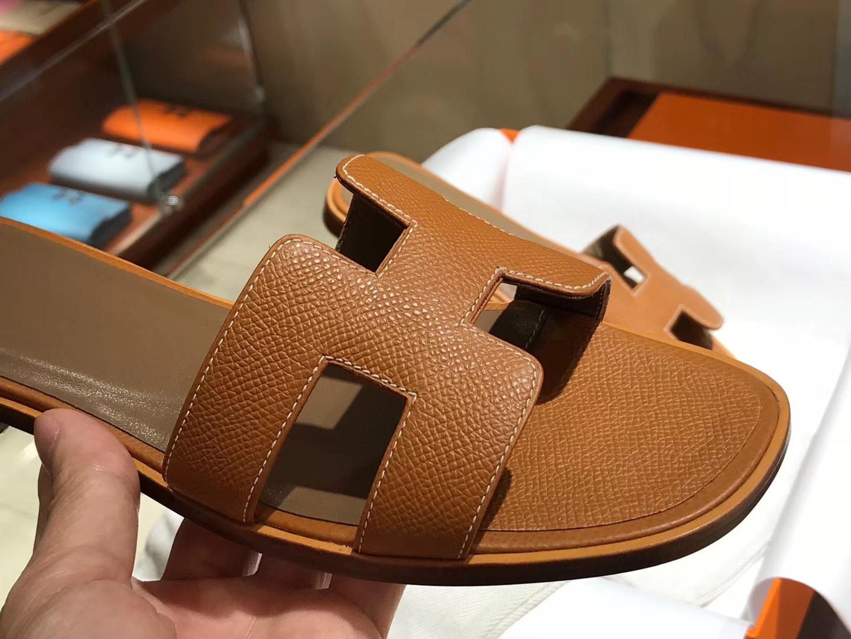 HERMES 爱马仕 H经典款拖鞋高端订制独家品质金棕色