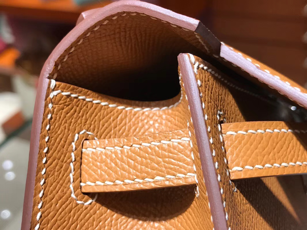 HERMES 爱马仕 Mini Kelly 22cm 手拎包 2H金棕色kraft