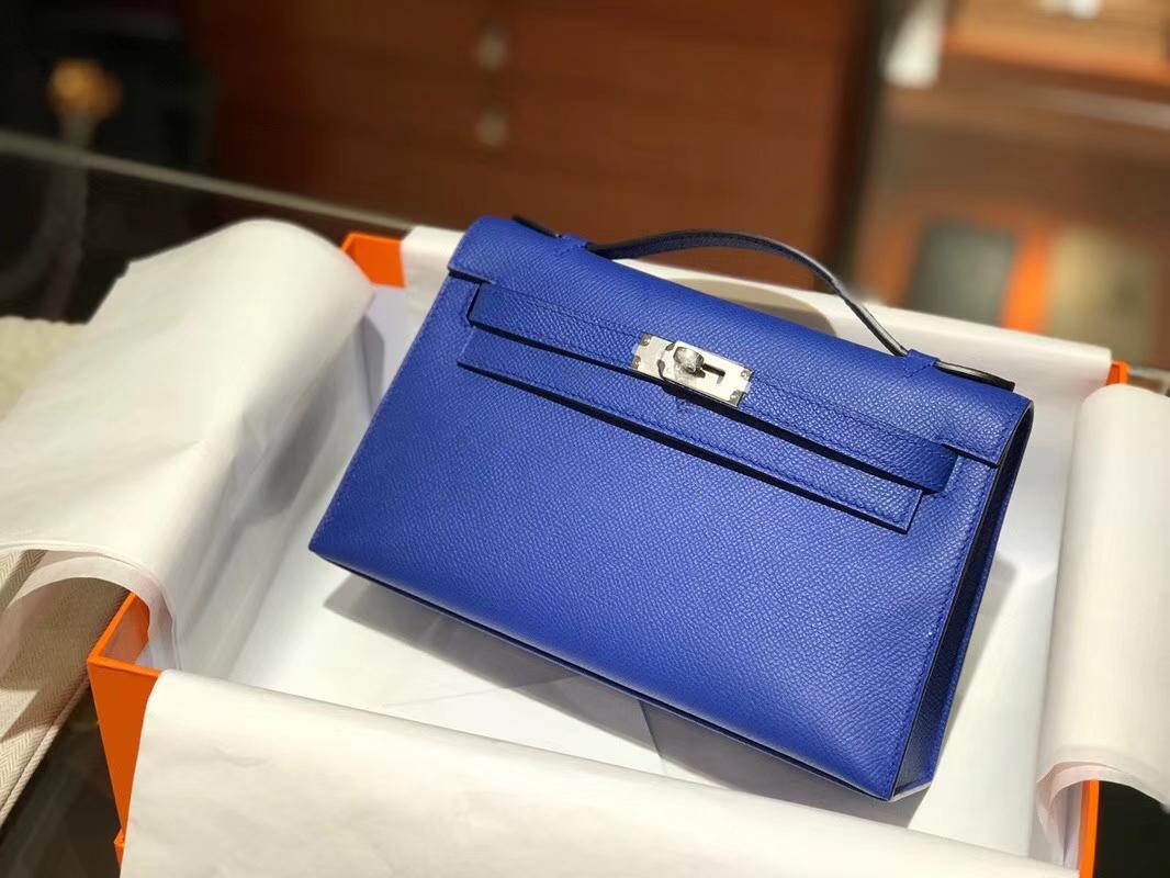 HERMES 爱马仕 Mini Kelly 22cm 手拎包 7T电光蓝 Bleu Electrique
