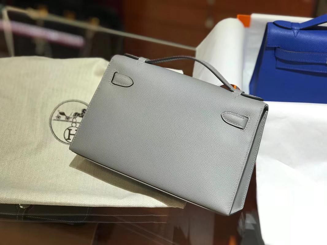 HERMES 爱马仕 Mini Kelly 22cm 手拎包 J7亚麻蓝Bleu Lin