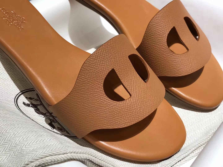 HERMES 爱马仕 猪鼻子拖鞋高端订制独家品质金棕色