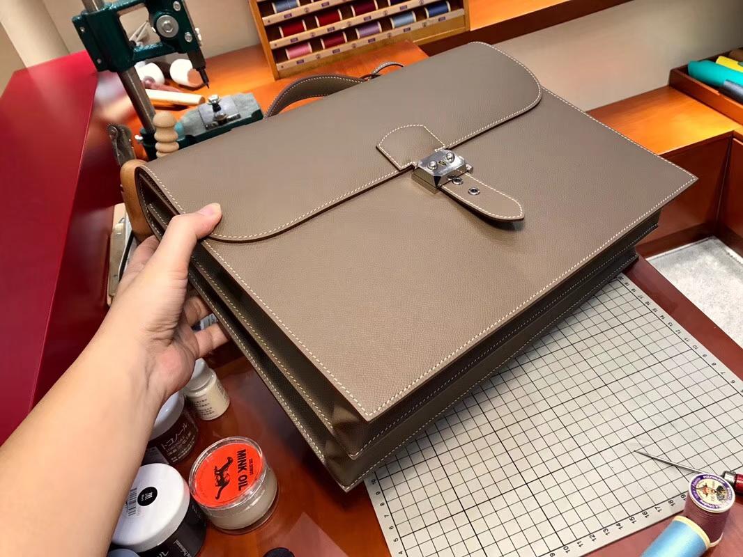 HERMES 爱马仕 男士公文包 大象灰 CK18 Etoupe 现货系列 配全套专柜原版包装