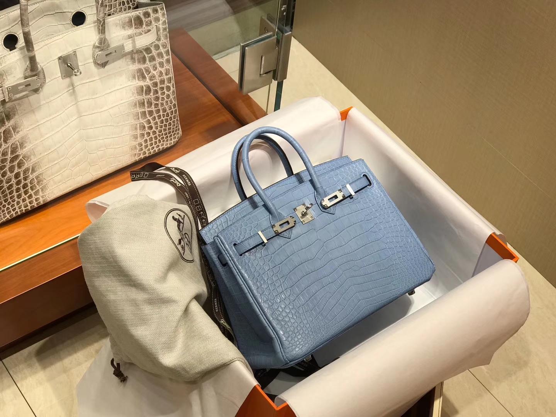 爱马仕 HERMES 铂金包 Birkin 配全套专柜原版包装 全球发售 b3 坦桑尼亚蓝 zanzibar blue