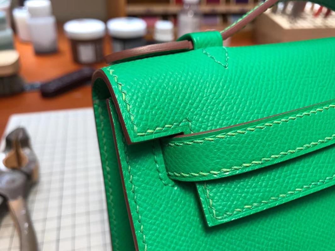 HERMES Mini Kelly 22cm 手拎包 1K竹子绿 Bamboo