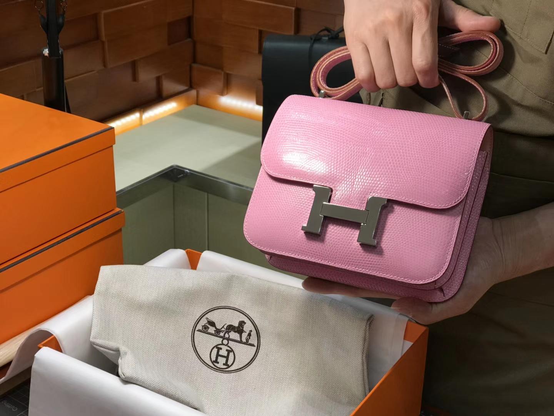 Hermes 爱马仕 空姐包 Constance 蜥蜴皮 rosesakura水粉色3q 定制15-20天发货 配全套专柜原版包装