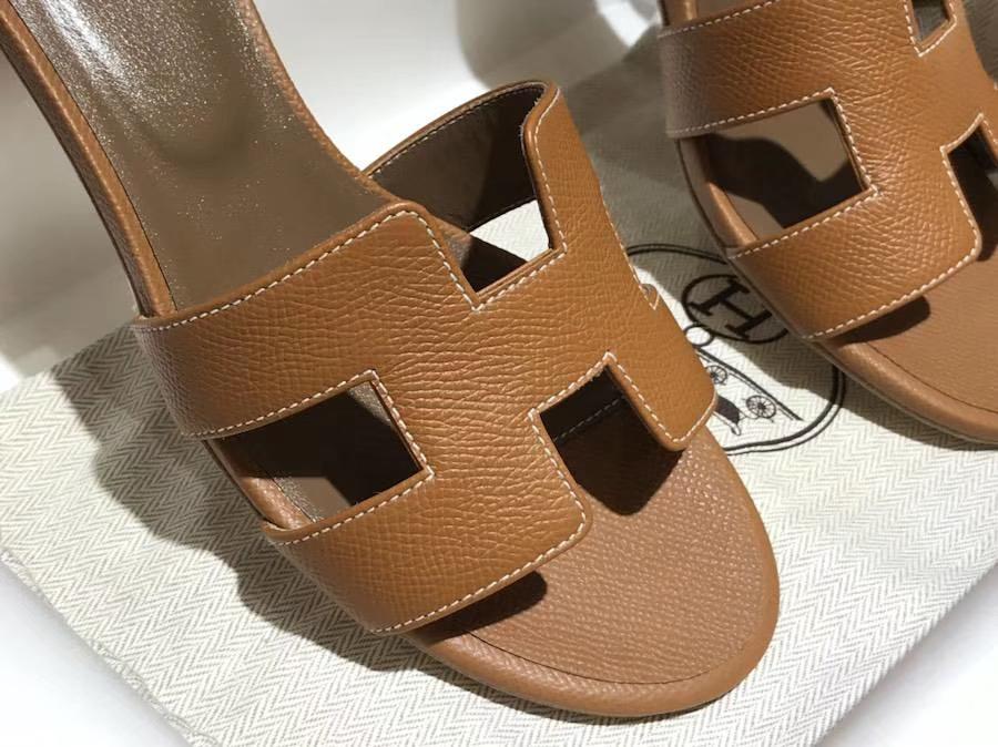 H经典中跟拖鞋高端订制独家品质 epsom皮 金棕色