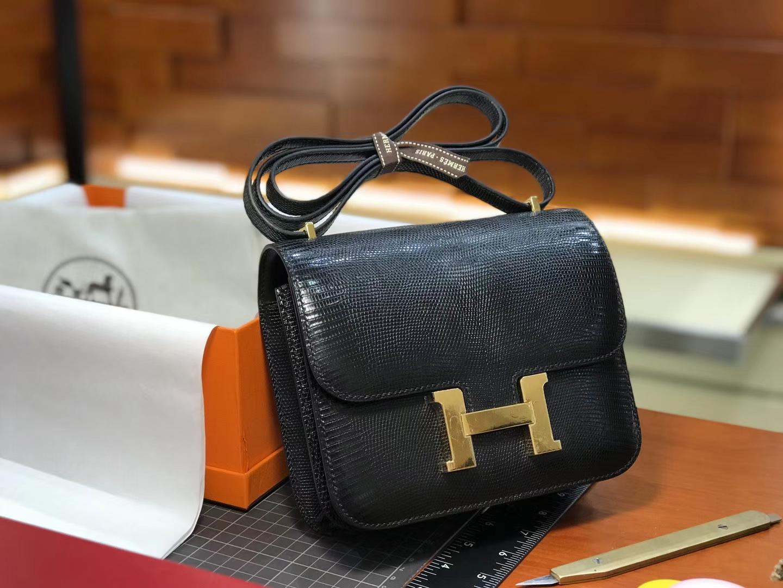 Hermes 爱马仕 空姐包 Constance 蜥蜴皮 黑色 nior CK89 配全套专柜原版包装
