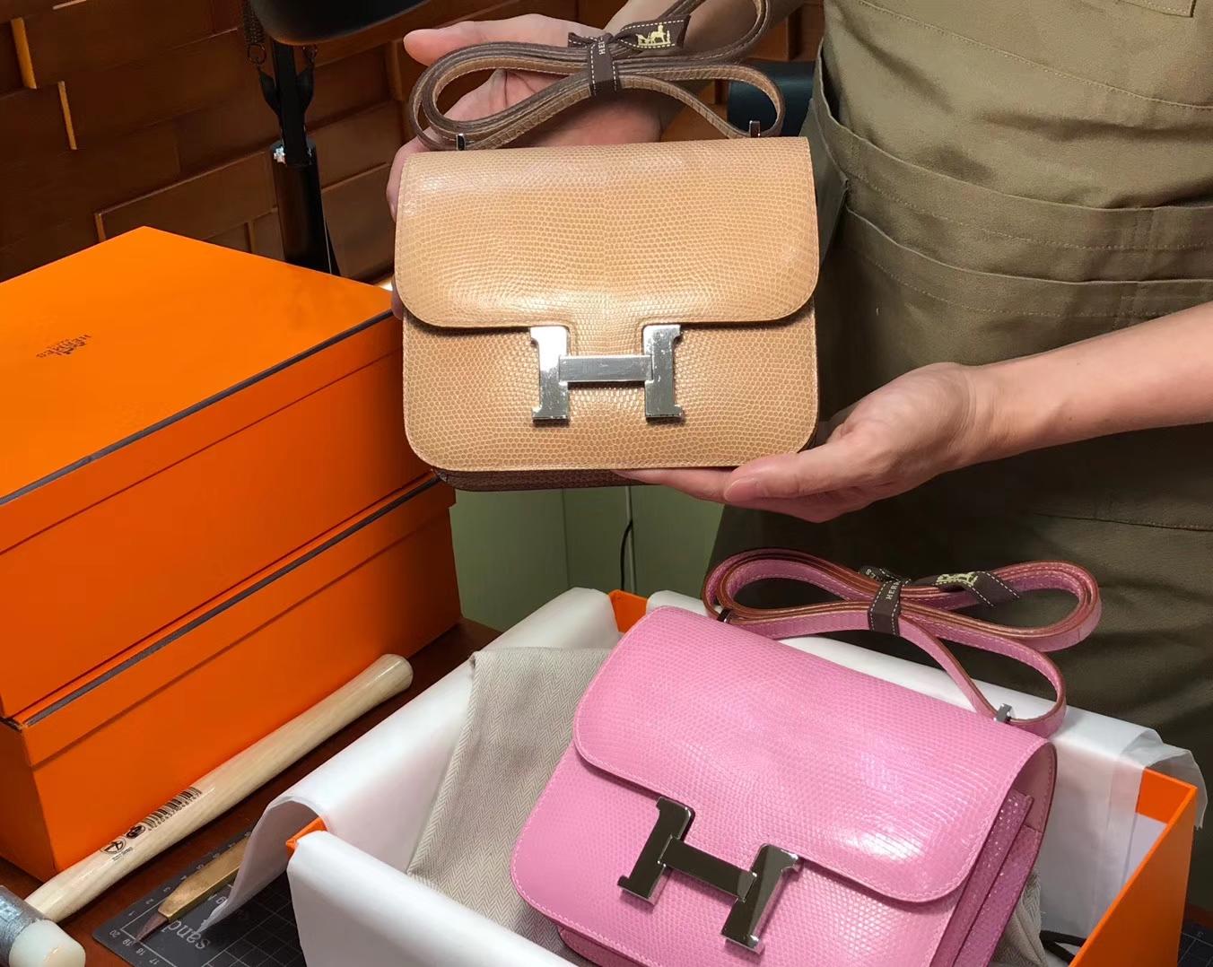 Hermes 爱马仕 空姐包 Constance 蜥蜴皮 cc14杏色beige 接受定制 配全套专柜原版包装
