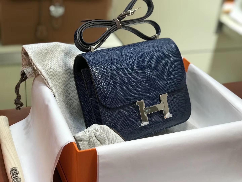 Hermes 爱马仕 空姐包 Constance 蜥蜴皮 CKN7 风暴蓝 Bleu Tempete 定制15-20天发货 配全套专柜原版包装