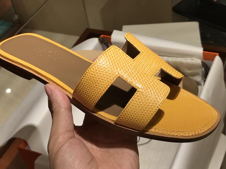 Hermes Lizard 蜥蜴皮拖鞋 意大利树羔皮底 太阳黄