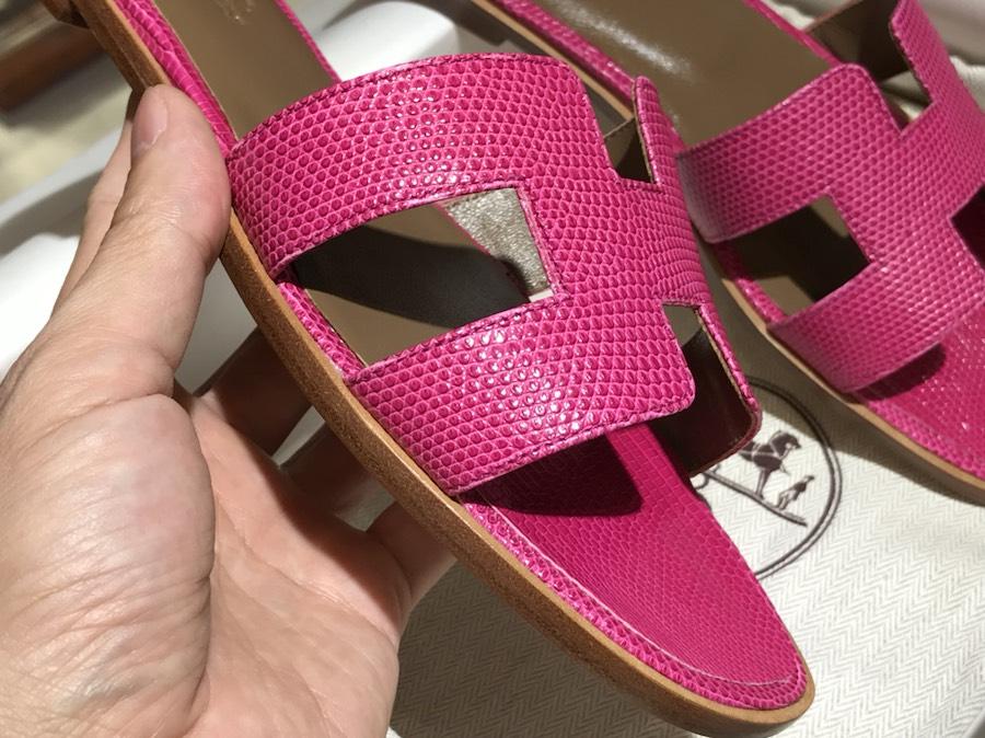 Hermes Lizard 蜥蜴皮拖鞋 意大利树羔皮底 玫红