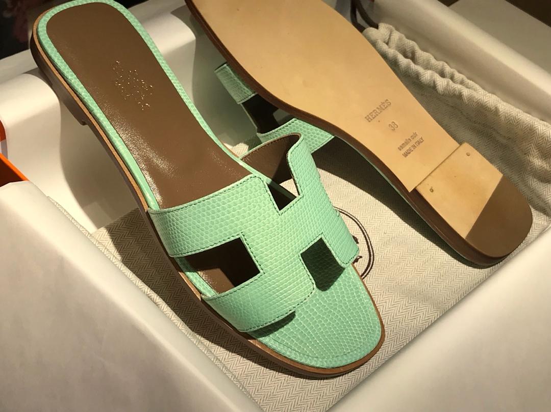 H蜥蜴皮拖鞋 Lizard leather 薄荷绿 意大利树羔皮底 手工缝制工艺 高端订制