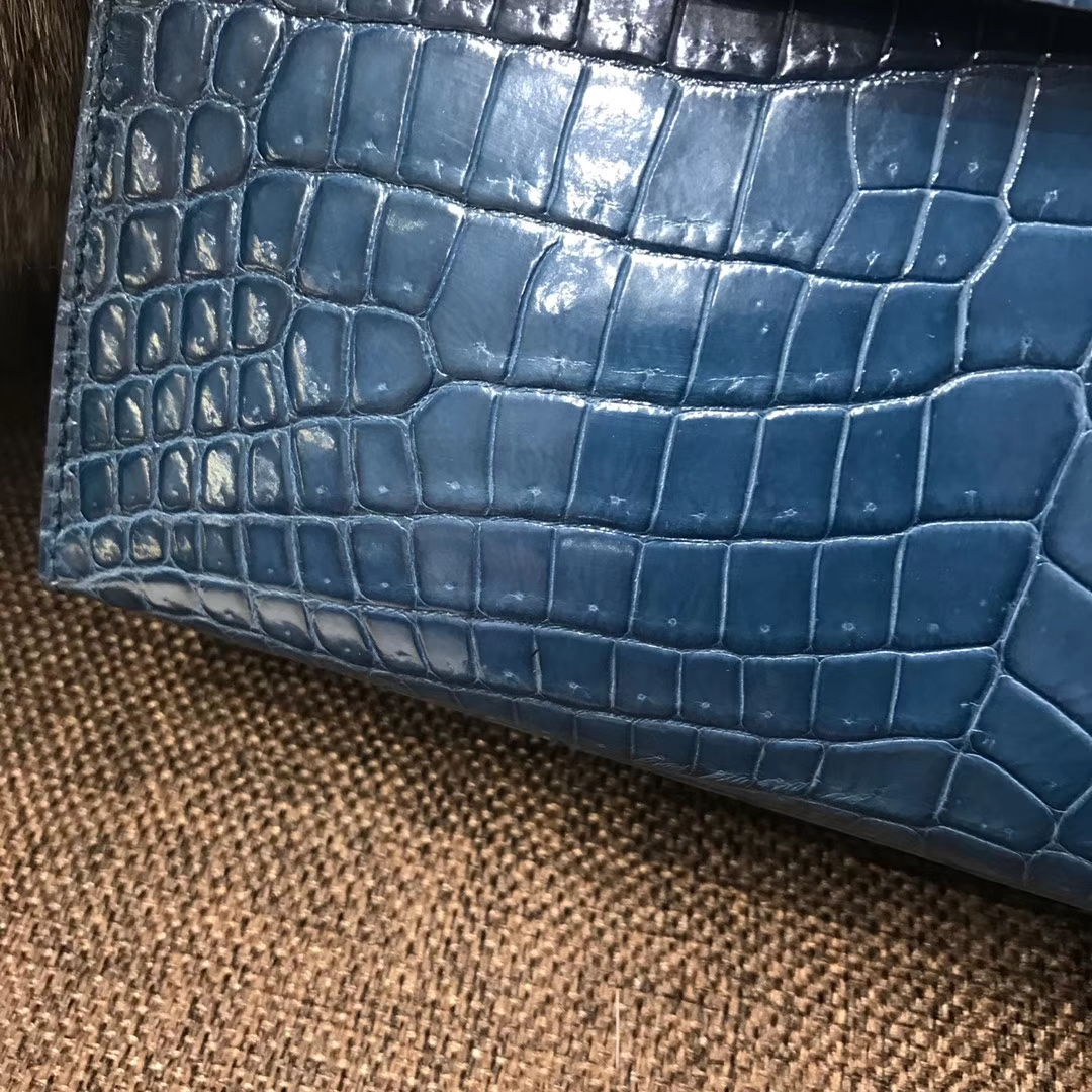 HERMES 爱马仕 Mini Kelly 22cm 手拎包 N7 风暴蓝 Blue Tempete 鳄鱼皮