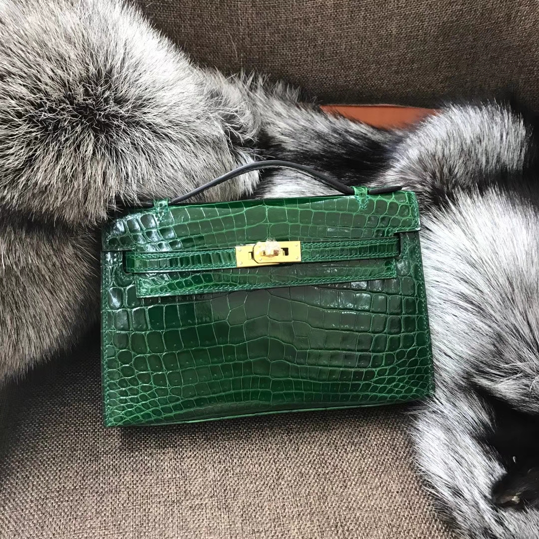 HERMES 爱马仕 Mini Kelly 22cm 手拎包 CK67 Vert Fonce 祖母绿 鳄鱼皮