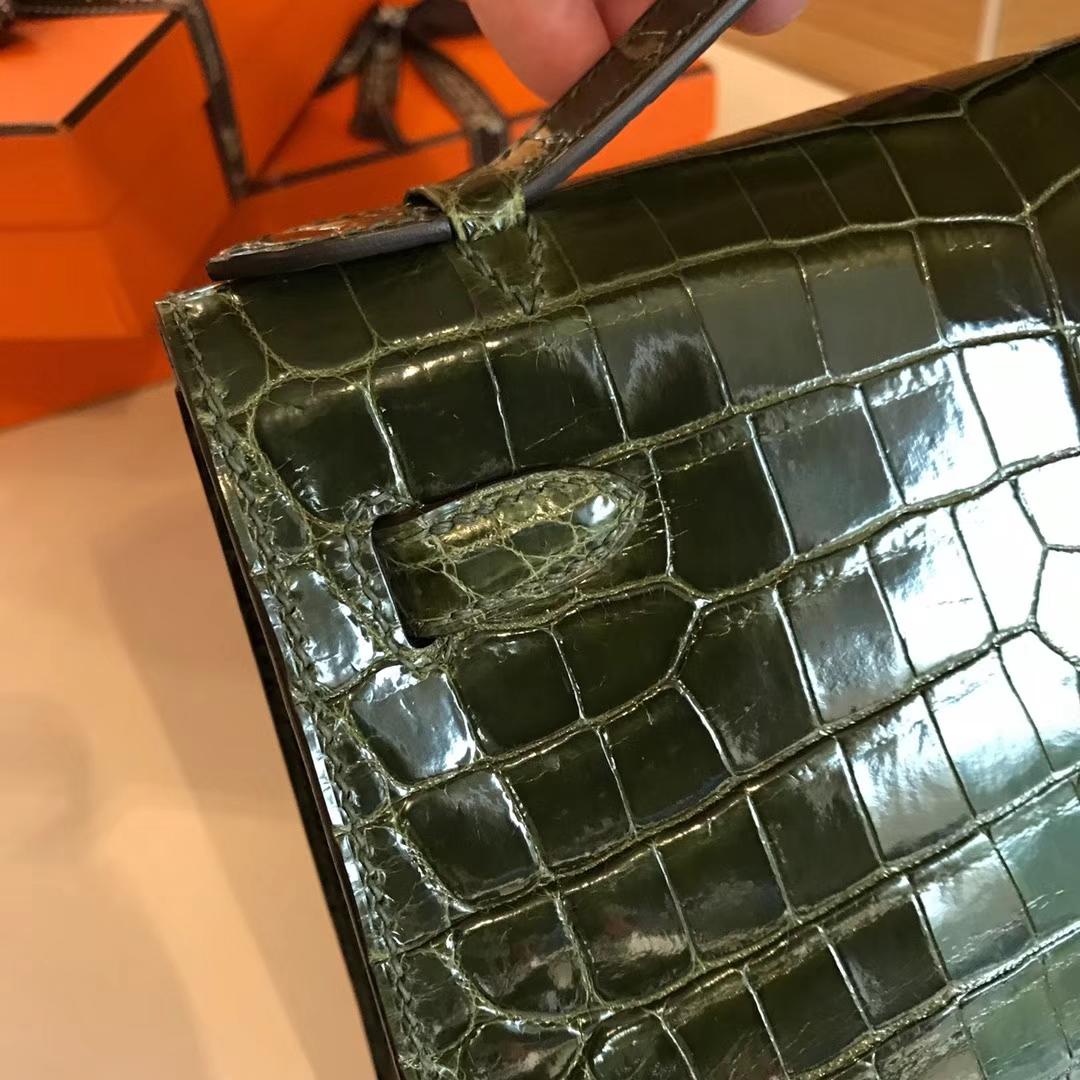 HERMES 爱马仕 Mini Kelly 22cm 手拎包 6HVeronese橄榄绿 鳄鱼皮