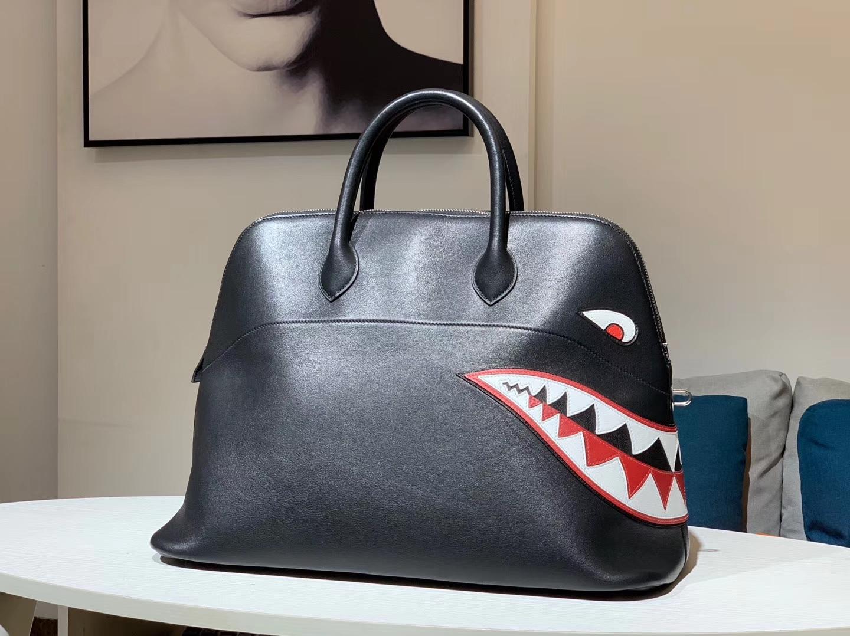 HERMES 爱马仕男包 林俊杰同款鲨鱼包 黑色
