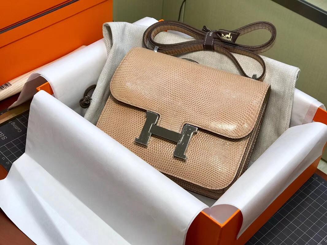 H家 空姐包 Constance 蜥蜴皮 杏色 银扣 配全套专柜原版包装