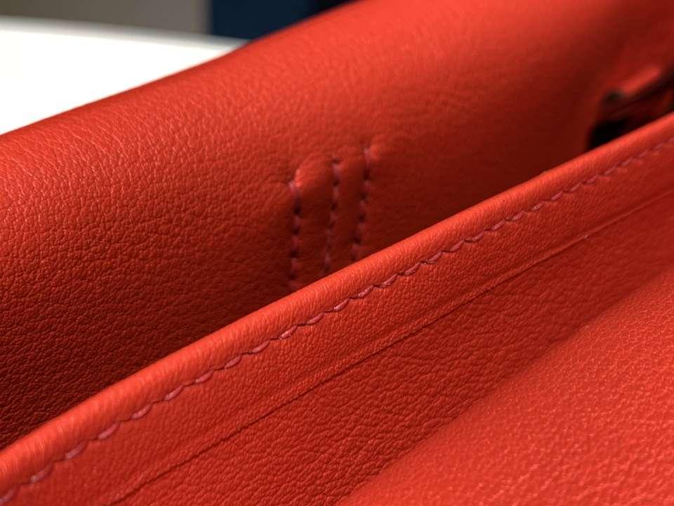 HERMES 爱马仕 Halzan swift 珊瑚红 配全套专柜原版包装