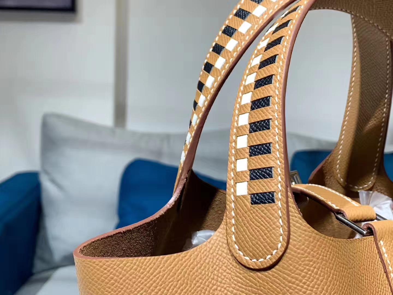 菜篮子 Picotin 编织手柄 金棕色 配全套专柜原版包装 纯手工