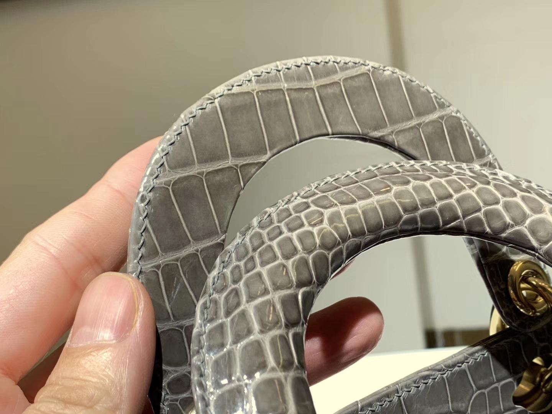 Alligator 美洲鳄 DIOR迪奥戴妃包 大象灰 接受定制 金银扣