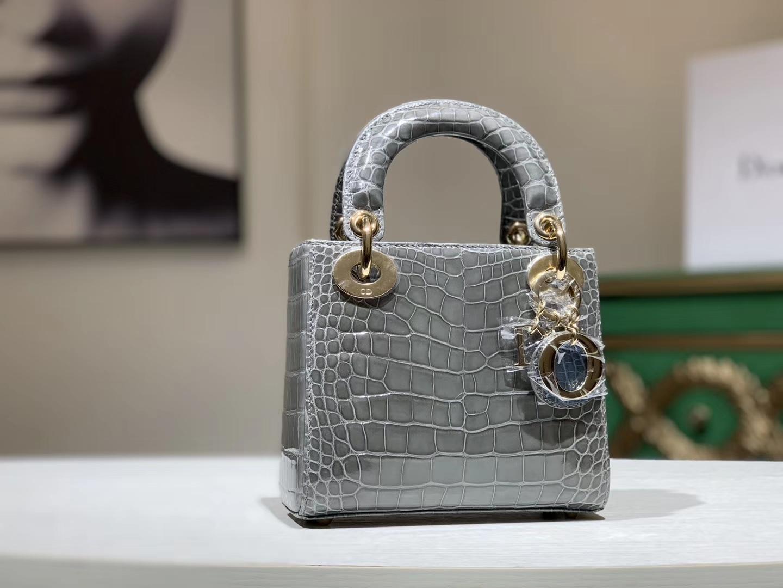 Alligator 美洲鳄 迪奥DIOR戴妃包 珍珠灰 接受定制 金银扣
