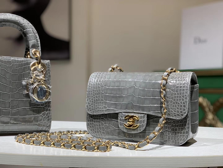Alligator 美洲鳄 CHANEL香奈儿 CF 金银扣定做 珍珠灰 20cm
