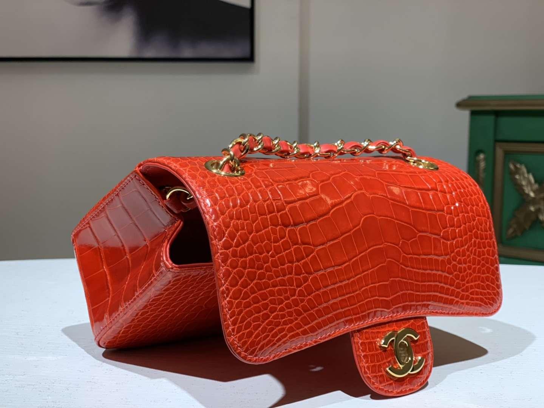 Alligator 美洲鳄 CHANEL香奈儿 CF 金银扣定做 橘红 20cm