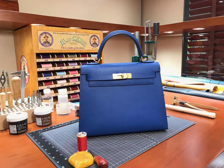 Kelly 28CM 现货系列 配全套专柜原版包装 CC73 宝石蓝 Blue Saphir Epsom皮 爱马仕HERMES
