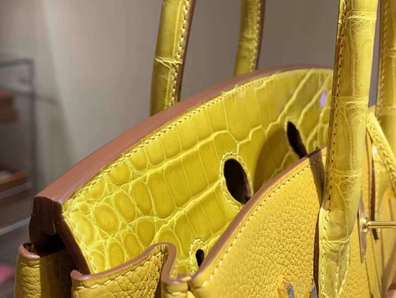 HERMES 爱马仕 Birkin 25 Togo/Croco 拼鳄鱼琥珀黄 完美的搭配