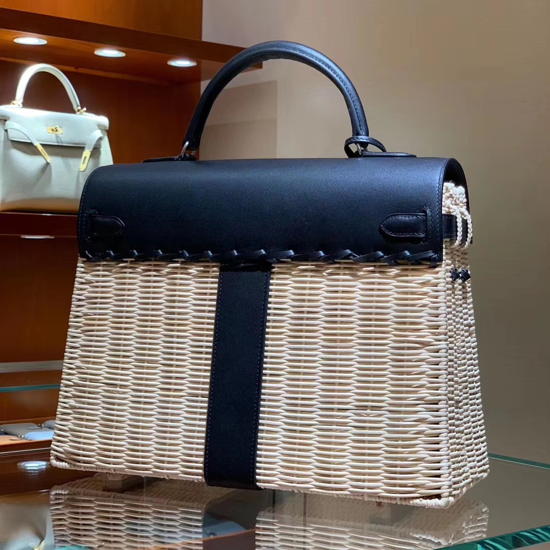 Hermes kelly Picnis Bag35cm 竹藤条编织