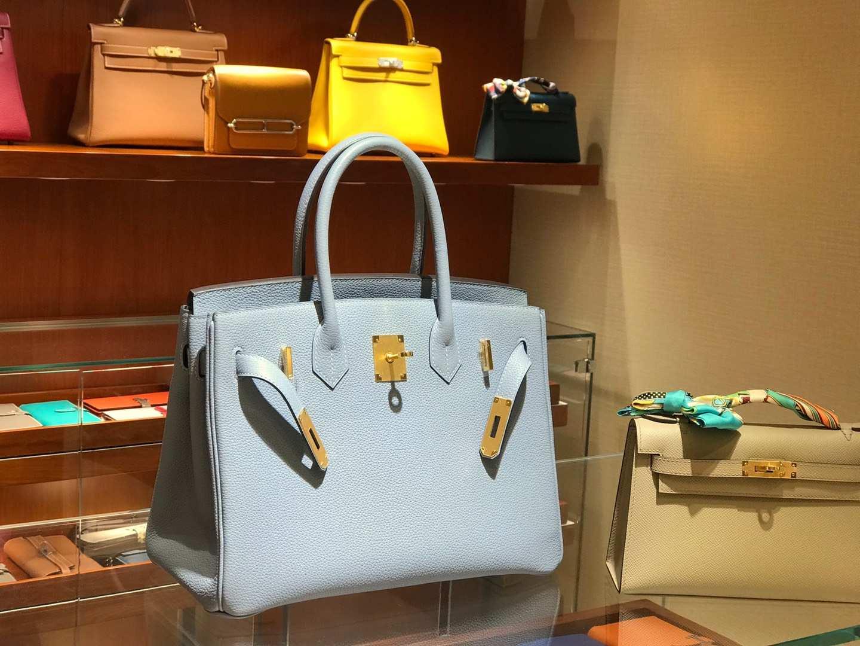爱马仕 HERMES 铂金包 Birkin 25cm 30cm 亚麻蓝 配全套专柜原版包装 全球发售