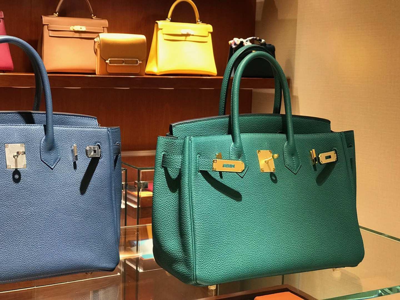 爱马仕 HERMES 铂金包 Birkin 25cm 30cm 孔雀绿 配全套专柜原版包装 全球发售