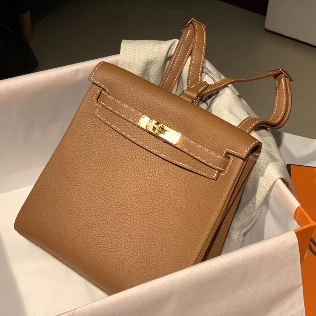 Hermes CK37金棕 银扣 Kellyado背包 原厂皮