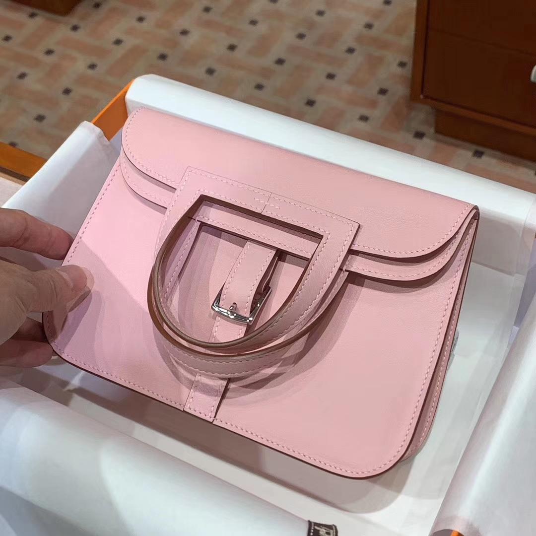 HERMES 爱马仕 Halzan swift 粉色 配全套专柜原版包装