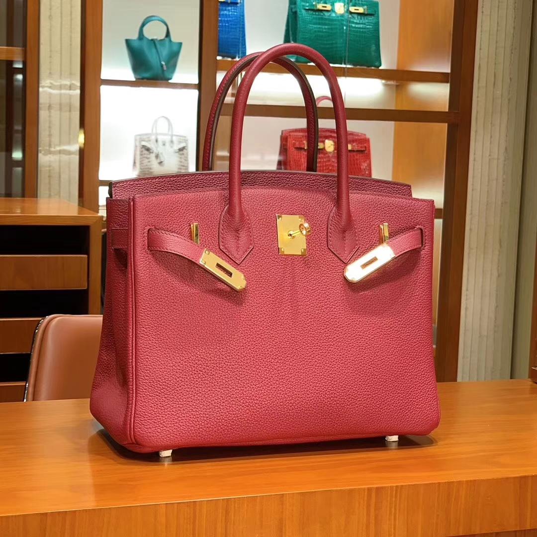 爱马仕 HERMES 铂金包 Birkin 25cm 30cm 石榴红 配全套专柜原版包装 全球发售