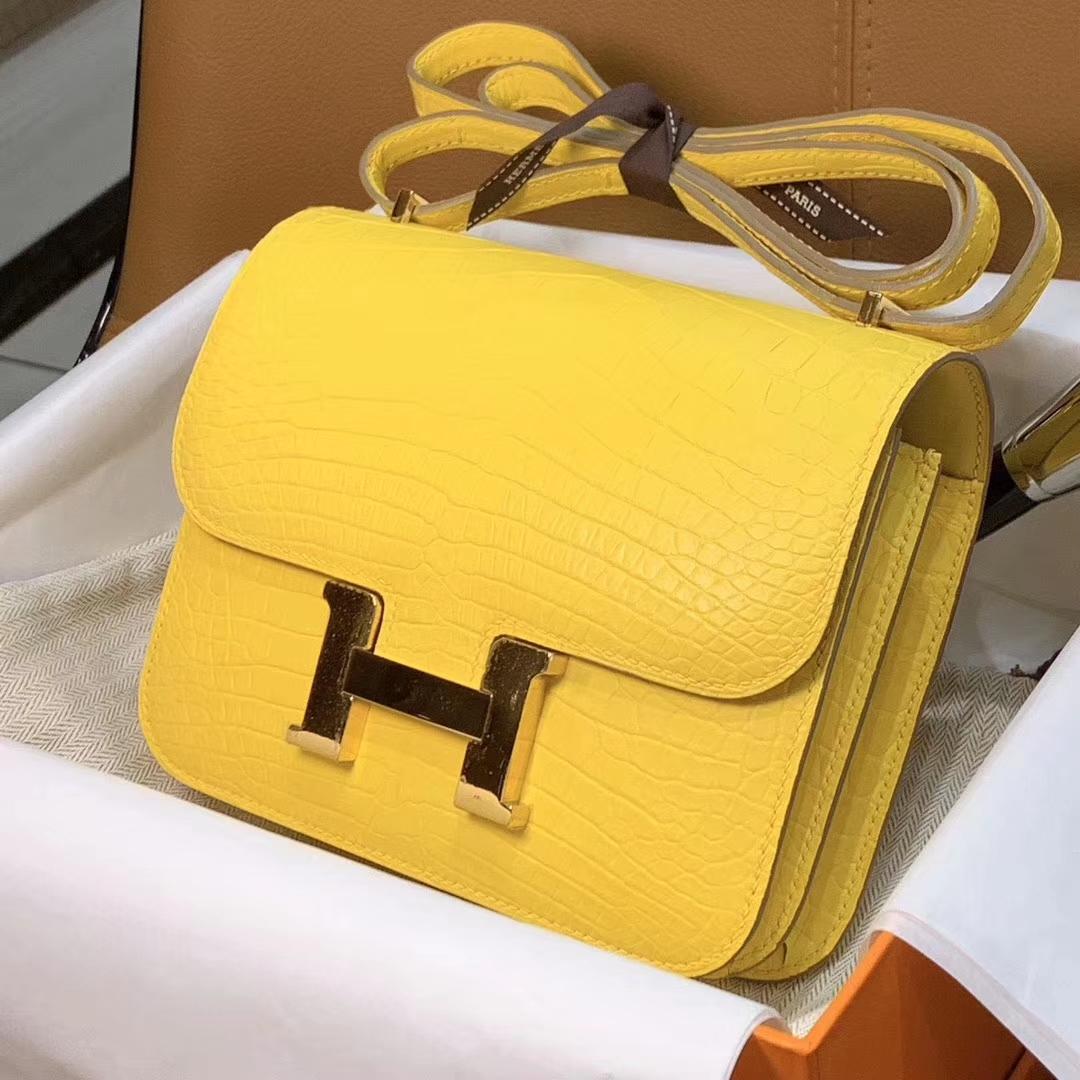 爱马仕 HERMES 空姐包 Constanc 19/23cm 柠檬黄 鳄鱼皮 配全套专柜原包装